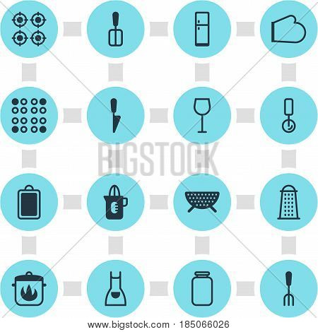 Vector Illustration Of 16 Restaurant Icons. Editable Pack Of Kitchen Dagger, Can, Cooking Spade And Other Elements.