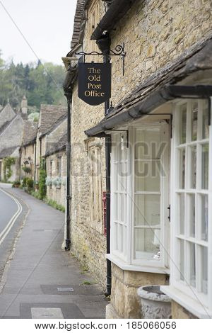 CASTLE COMBE UK - MAY 5 2017: Main street in Castle Combe Wiltshire UK showing the old post office