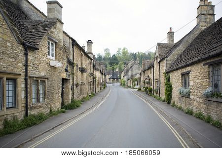 CASTLE COMBE UK - MAY 5 2017: Main street in Castle Combe Wiltshire UK