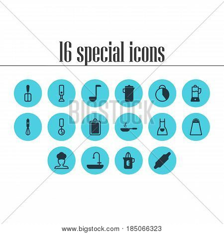 Vector Illustration Of 16 Cooking Icons. Editable Pack Of Pepper Container, Smock, Chopping Desk And Other Elements.