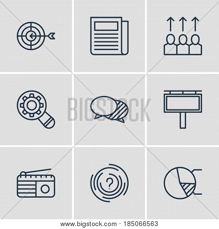 Vector Illustration Of 9 Advertising Icons. Editable Pack Of Fm Broadcasting, Advancement, Daily Press And Other Elements.