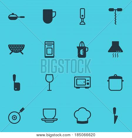Vector Illustration Of 16 Kitchenware Icons. Editable Pack Of Oven, Wine, Mixer And Other Elements.