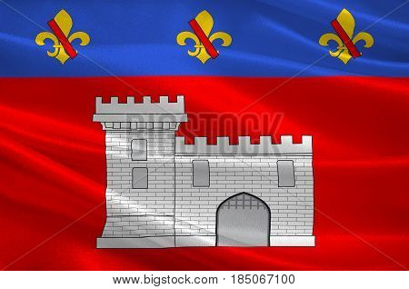 Flag of Villefranche-sur-Saone is a commune in the Rhone department in eastern France. 3D illustration