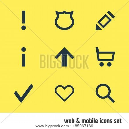 Vector Illustration Of 9 Interface Icons. Editable Pack Of Conservation, Alert, Seek And Other Elements.