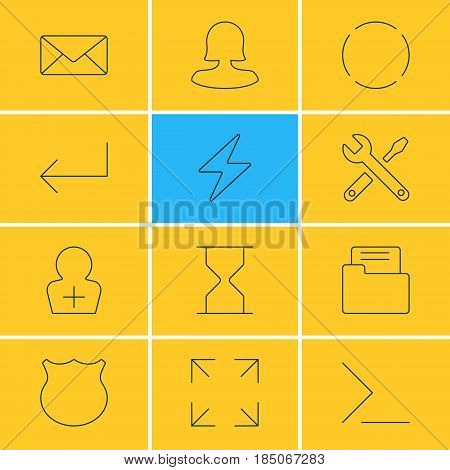 Vector Illustration Of 12 Interface Icons. Editable Pack Of Envelope, Register Account, Hourglass And Other Elements.