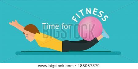 The fitness concept. Time for fitness. Young girl. Sportswoman. Exercise with gym ball. Flat vector illustration