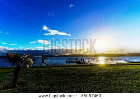 Atmosphere at lake Taupo in the evening North Island of New Zealand