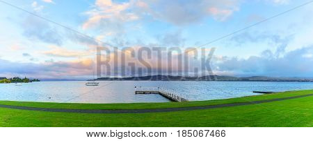 Panoramic scenery of Lake Taupo in the morning North Island of New Zealand