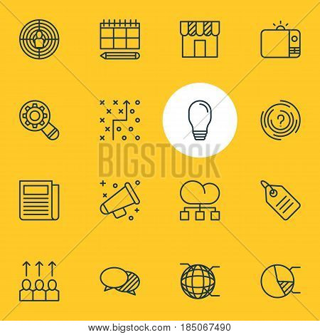 Vector Illustration Of 16 Marketing Icons. Editable Pack Of Circle Diagram, Analysis, Network And Other Elements.