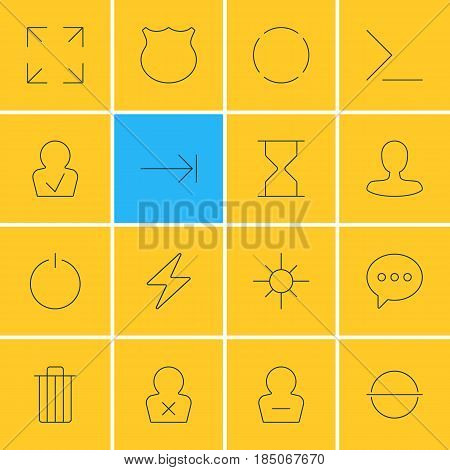 Vector Illustration Of 16 UI Icons. Editable Pack Of Tabulation Button, Wide Monitor, Man Member And Other Elements.