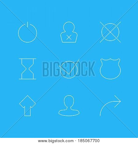 Vector Illustration Of 9 Interface Icons. Editable Pack Of Guard, Banned Member, Cancel And Other Elements.
