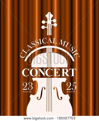 vector poster for a concert of classical music with a velvet curtain and violin
