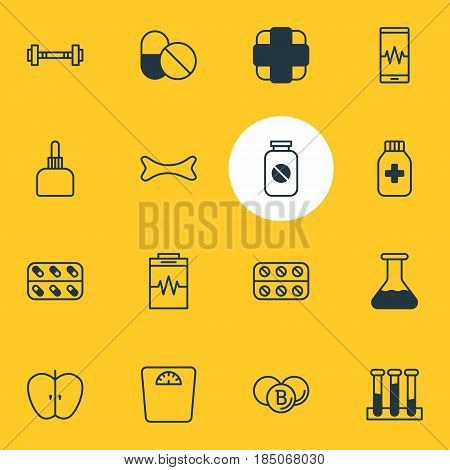 Vector Illustration Of 16 Health Icons. Editable Pack Of Pills, Medicine Jar, Treatment And Other Elements.