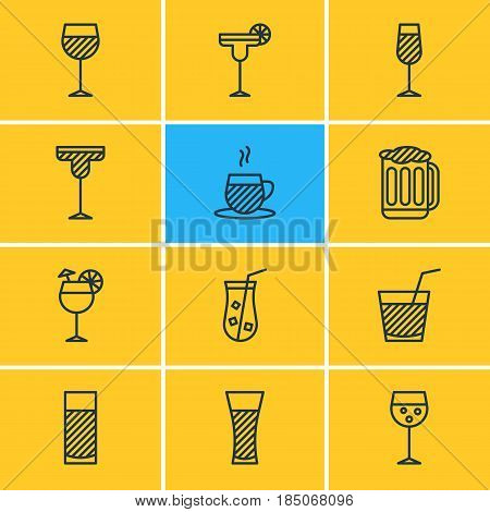 Vector Illustration Of 12 Beverage Icons. Editable Pack Of Beverage, Aqua, Juice And Other Elements.