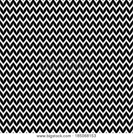 Vector monochrome pattern, abstract geometric seamless texture with black & white smooth zigzag lines. Abstract background, horizontal stripes, repeat tiles. Design for decoration, textile, furniture