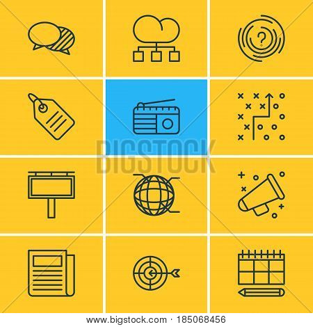Vector Illustration Of 12 Ad Icons. Editable Pack Of Schedule, Cloud Distribution, Maze And Other Elements.