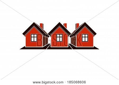 Simple Cottages Vector Illustration, Country Houses, For Use In Graphic Design. Real Estate Concept,