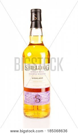 Colbert, WA - April 23, 2017: Bottle of Sheildaig Highland Single Malt Whisky- on white, illustrative editorial
