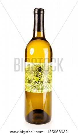 Colbert, WA - April 23, 2017: Bottle of Hierophant Meadery Hoppedi Mead on white - Illustrative editorial