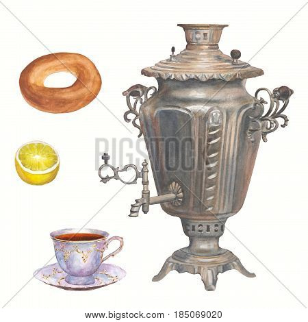 Watercolor hand drawn tea time collection. Samovar porcelain cup of tea bagel and lemon on white background