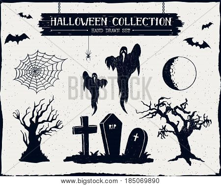 Hand drawn textured Halloween set of graveyard ghosts dead trees full moon and spiderweb illustrations.