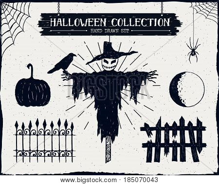 Hand drawn textured Halloween set of scarecrow raven pumpkin fence and full moon illustrations.