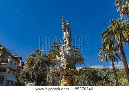 Monument To Christopher Columbus In Santa Margherita Ligure