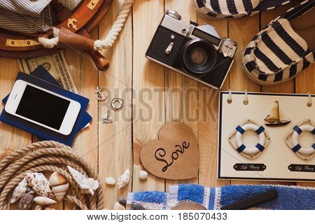 Striped Slippers, Camera, Phone And Maritime Decorations, Background