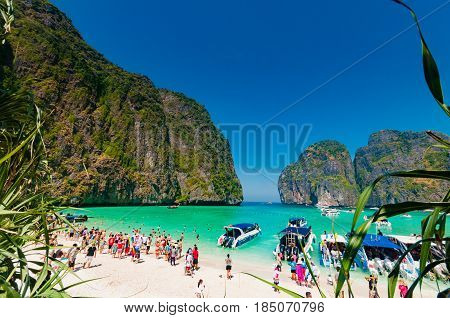 Krabi, Thailand - February 2, 2014: Uncontrol of tourist numbers in high season destroying Phi Phi islands and other tourist attraction spots around in Krabi Thailand.