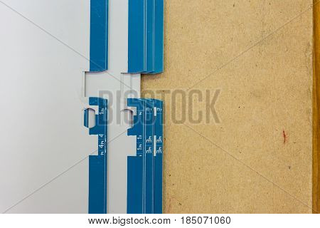 Offset Plate Grip Marks Passer Wooden Board Background Metal Printing Industry Equipment