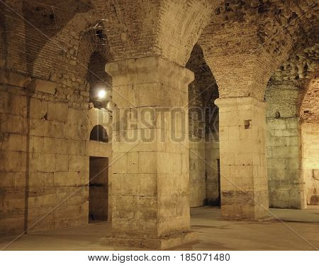 Underground walls of Diocletian palace in Split, Croatia