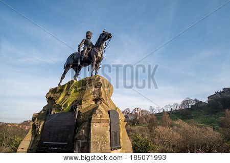 Royal Scots Greys Memorial Statue on Princes Street Edinburgh United Kingdom.