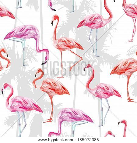 Seamless vector pattern set of tropical birds pink flamingos on a white background with palm. Beach wallpaper