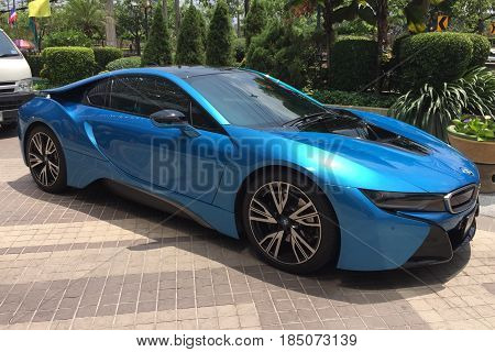 BANGKOK THAILAND 5 MAY 2017: BMW i8 concept electric vehicle car on the road in Bangkok Thailand