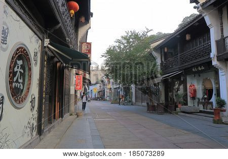 HANGZHOU CHINA - NOVEMBER 4, 2016: Unidentified people visit Qing He Fang historical street. is a protected area of the historical buildings from the Ming and Qing dynasty.