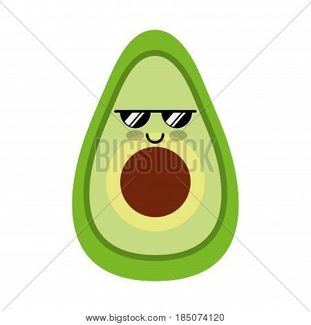 avocado fresh vegetable kawaii character vector illustration design