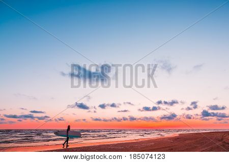 Young and sporty girl go to surfing on ocean. Beautiful woman in wet suit and sunset