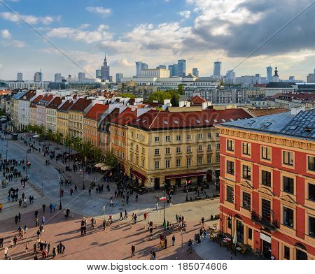 Warsaw old and modern town. Poland. Europe.