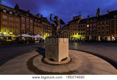 Monument in the main square of Warsaw in the morning. Poland.