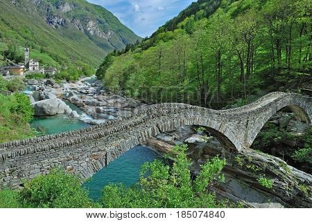 Ponte dei Salti Bridge near Lavertezzo in Valle Verzasca,Ticino Canton,Switzerland