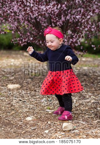 Adorable Baby Walking With Care