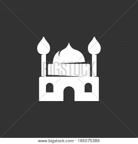 Mosque vector logo isolated on a black background. Mosque icon silhouette design template. Simple symbol concept in flat style. Abstract sign pictogram for web mobile and infographics