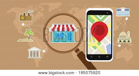 mobile gps travel navigation show various location with smartphone vector illustration