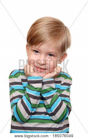 Portrait of thoughtful crafty kid isolated on white background