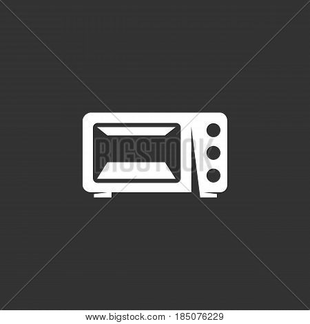 Microwave icon in flat style isolated on black background. Simple logo silhouette. Abstract sign symbol pictogram. Vector illustration