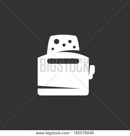 Toaster icon in flat style isolated on black background. Toast logo silhouette. Abstract sign symbol pictogram. Vector illustration