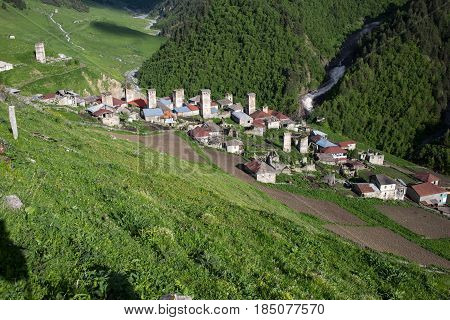 Adishi village view  in Caucasus mountains Georgia