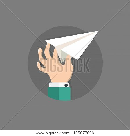 Flat hand and paper airplane. Concept illustration. Vector stock.