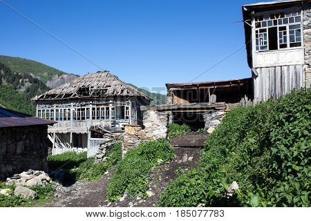 Adishi village traditional buildings in Caucasus mountains Georgia