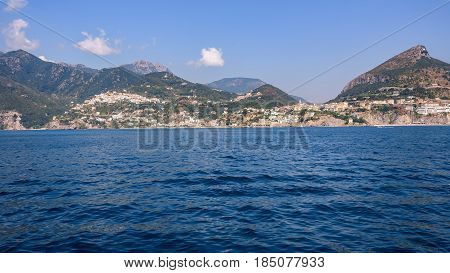 Panoramic view of Vietri Sul Mare town Campania Italy